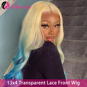 ZHUO JIA 613 Lace Front Wig Human Hair Wig Blonde Brazilian Hair 13x4 Transparent Lace Frontal Wig Remy Human Hair Wigs image