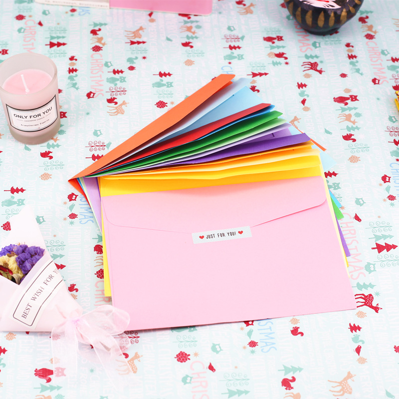 12.5*18cm  10pcs/pack Paper Envelopes Greeting Card Packing Colorful Color Letter Gift Envelope Cute Kraft Pink Red Envelopes