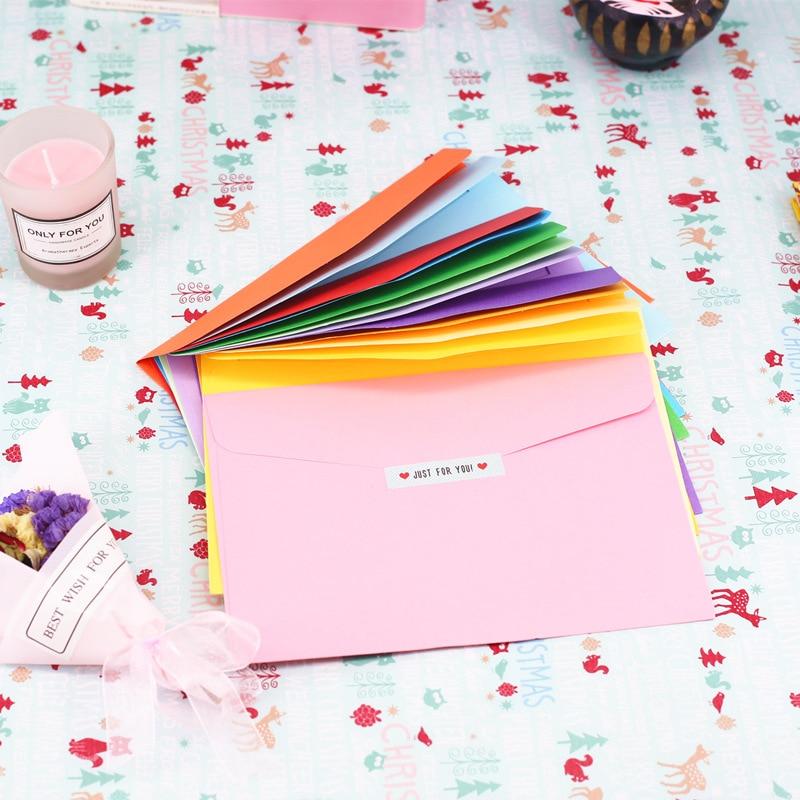 12.5*18cm  10pcs/pack Paper Envelopes Greeting Card Packing Colorful Color Letter Gift Envelope Cute Kraft Pink Red Envelopes