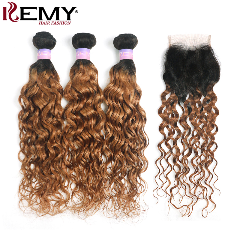 Ombre Brown Water Wave Bundles With Closure 4x4 KEMY Brazilian Human Hair Weave Bundles With Closure Non-Remy Hair Extension