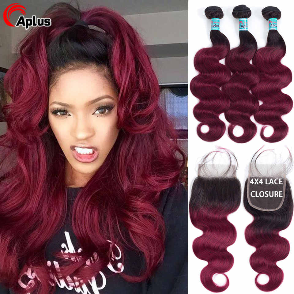 T1B/Burgundy Bundles With Closure Human Hair Pre-color Brazilian Body Wave Ombre Hair 3 Bundles With Closure T1B/Burg Remy Hair