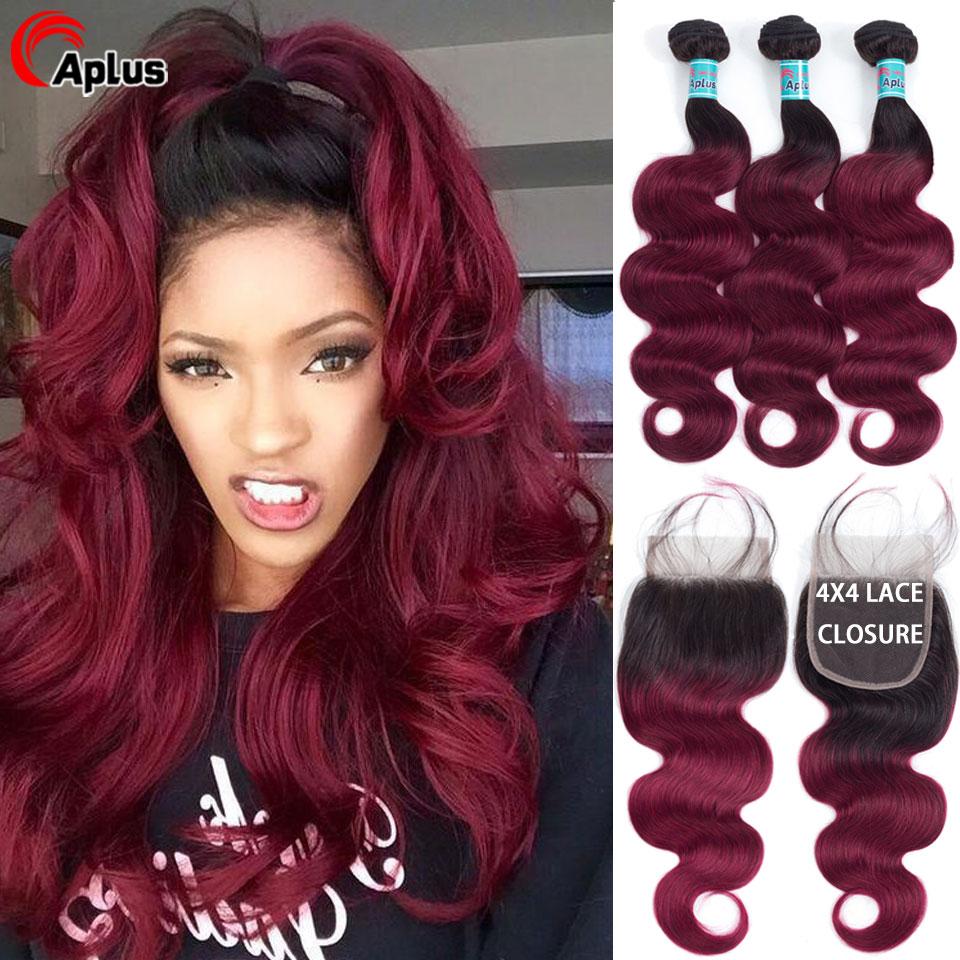T1B/Burgundy Bundles With Closure Human Hair Pre-color Brazilian Body Wave Ombre Hair 3 Bundles With Closure T1B/Burg Remy Hair