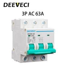 цена на 3P 6A 10A 16A 20A 25A 32A 40A 50A 63A Household Miniature Circuit Breaker C type AC 220V 450V mini MCB