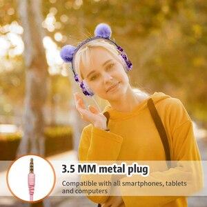 Image 3 - น่ารักสาวชุดหูฟังนุ่ม LUSH Ball Cat แบบมีสายหูฟังพร้อมไมโครโฟนโทรศัพท์มือถือ Gamer ชุดหูฟังสำหรับ iPhone Samsung LG