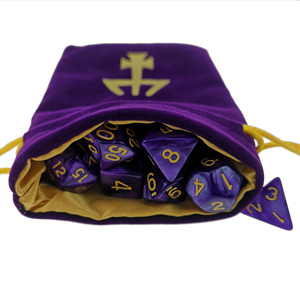 Marbled Purple / Black DND Dice Set and Matching Velvet Bag Pouch with Custom Logo for RPG D&D DND Games(China)