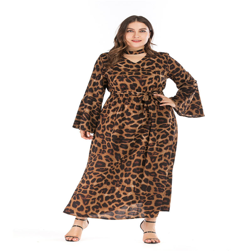 Leopard Womens Designer Dresses V Neck Bell leeve Short Sleeve Plus Size Clothing