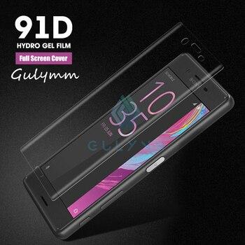 Перейти на Алиэкспресс и купить 91D защитный гидрогель для sony Xperia 10 Plus XP5 XZ1 XZ2 XZ3 XA1 XA2 ультра компактная Защитная пленка для экрана полное покрытие пленка не стекло