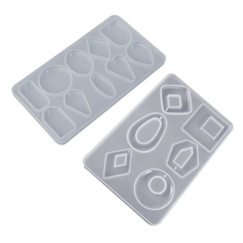 2 Pcs/set New DIY Crystal Epoxy Mould UV Resin Necklace Pendant Earrings Jewelry Making Silicone Mold
