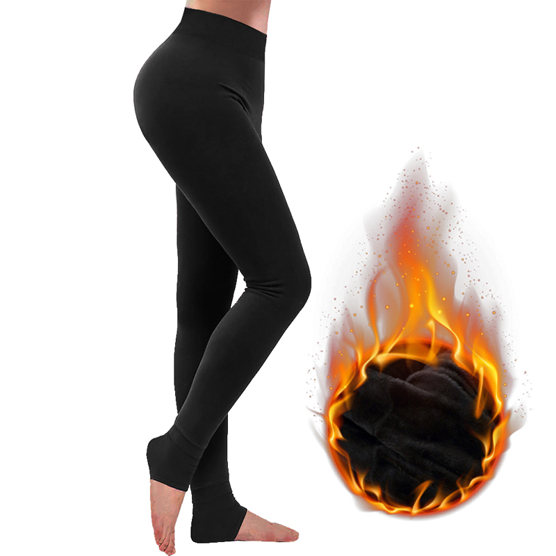 2020 Winter Thermal Leggings Stretchy Warm Tights Pants With Thick Velvet Lined For Women Girl Solid Trousers Thick Pants Mujer