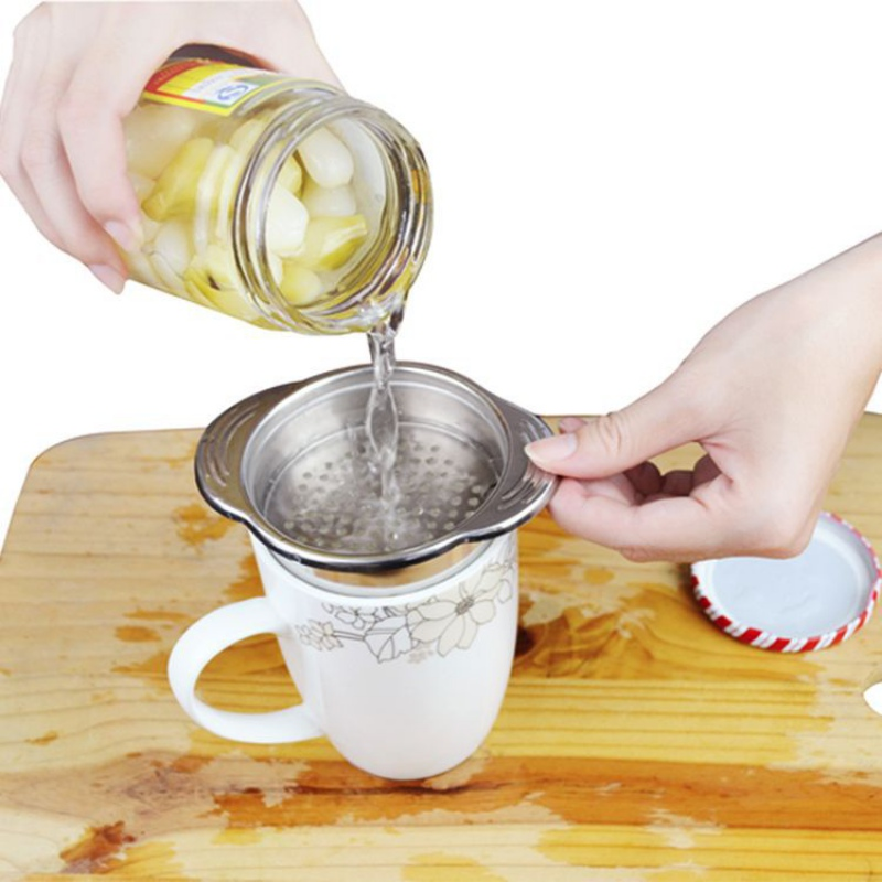 Stainless Steel Food Can Strainer Sieve Tuna Press Lid Oil Drainer Remover For Kitchen Gadget No-Mess Dishwasher image