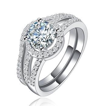 MDEAN Female Jewelry Sets AAA Zircon Elegant White Gold Color Engagement Halo ringsfor women image