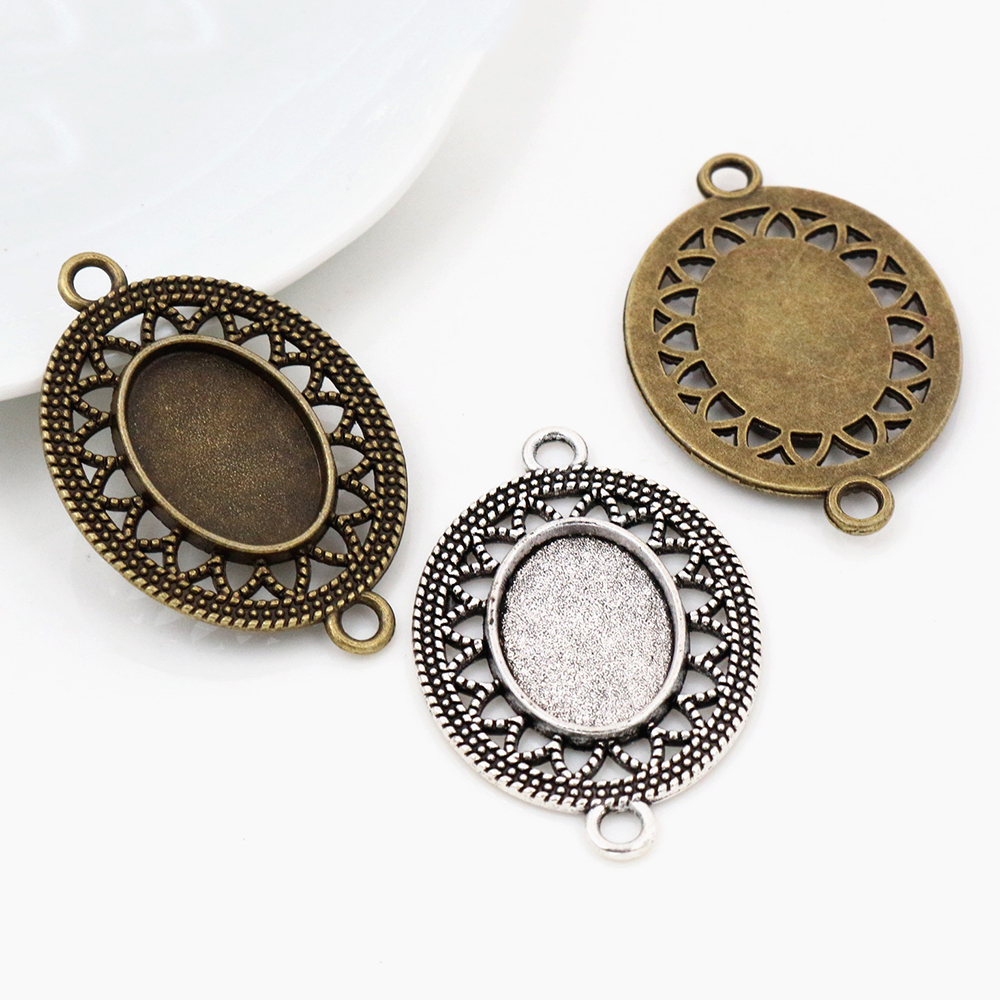 6pcs 13x18mm Inner Size Antique Silver Plated And Bronze Simple Style Cameo Cabochon Base Setting Pendant Necklace Findings.