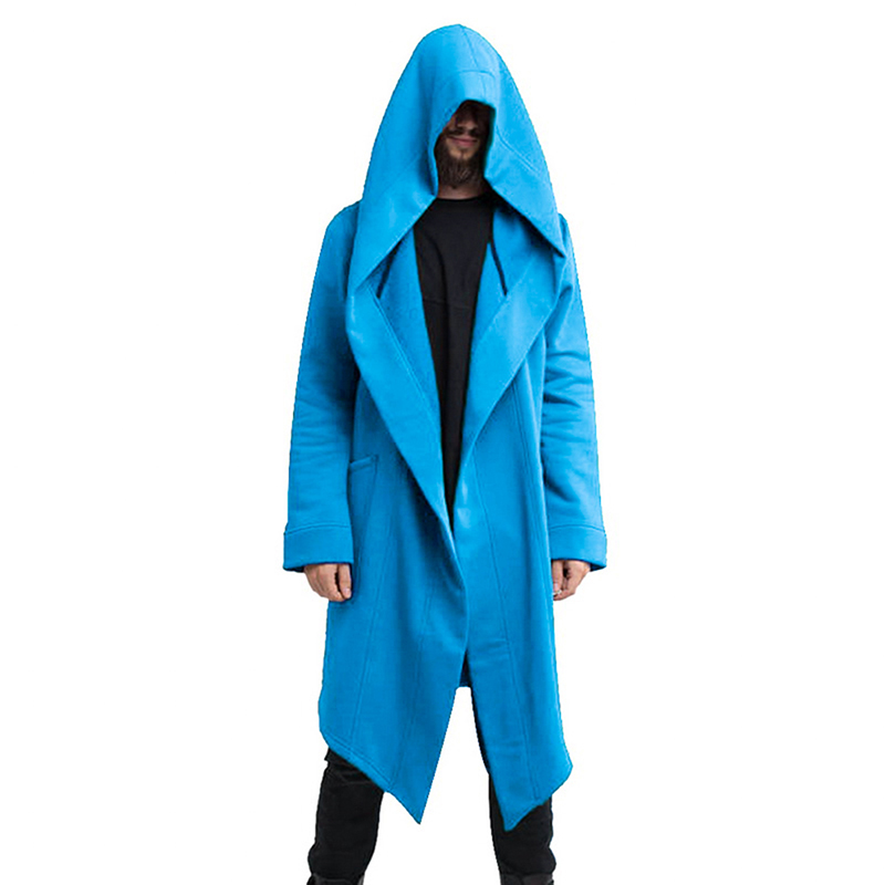 H8e4e418203284183a1e83f3402a2e192e Vintage Men Autumn Winter Hoodies Jacket Long Cardigan Coat Casual Hip Hop Solid Pocket Jacket Hooded Outwear Veste Homme