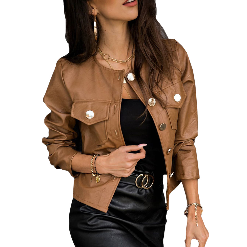 Women PU Leather Jackets Spring Autumn Faux Leather Coats Ladies Motor Biker Button Slim Jackets Basic Black Short Coats D30 Women Women's Clothings Women's Sweaters/Coat