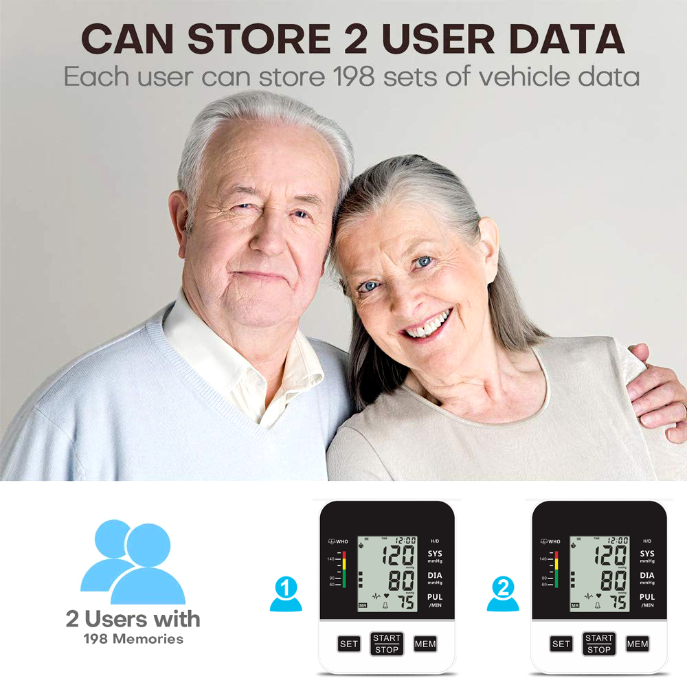 Image 3 - Home Blood Pressure Monitor Upper Arm Automatic Digital LCD Large  Cuff Blood Pressure Monitors Medical BP Heart Rate Pulse MeterBlood  Pressure