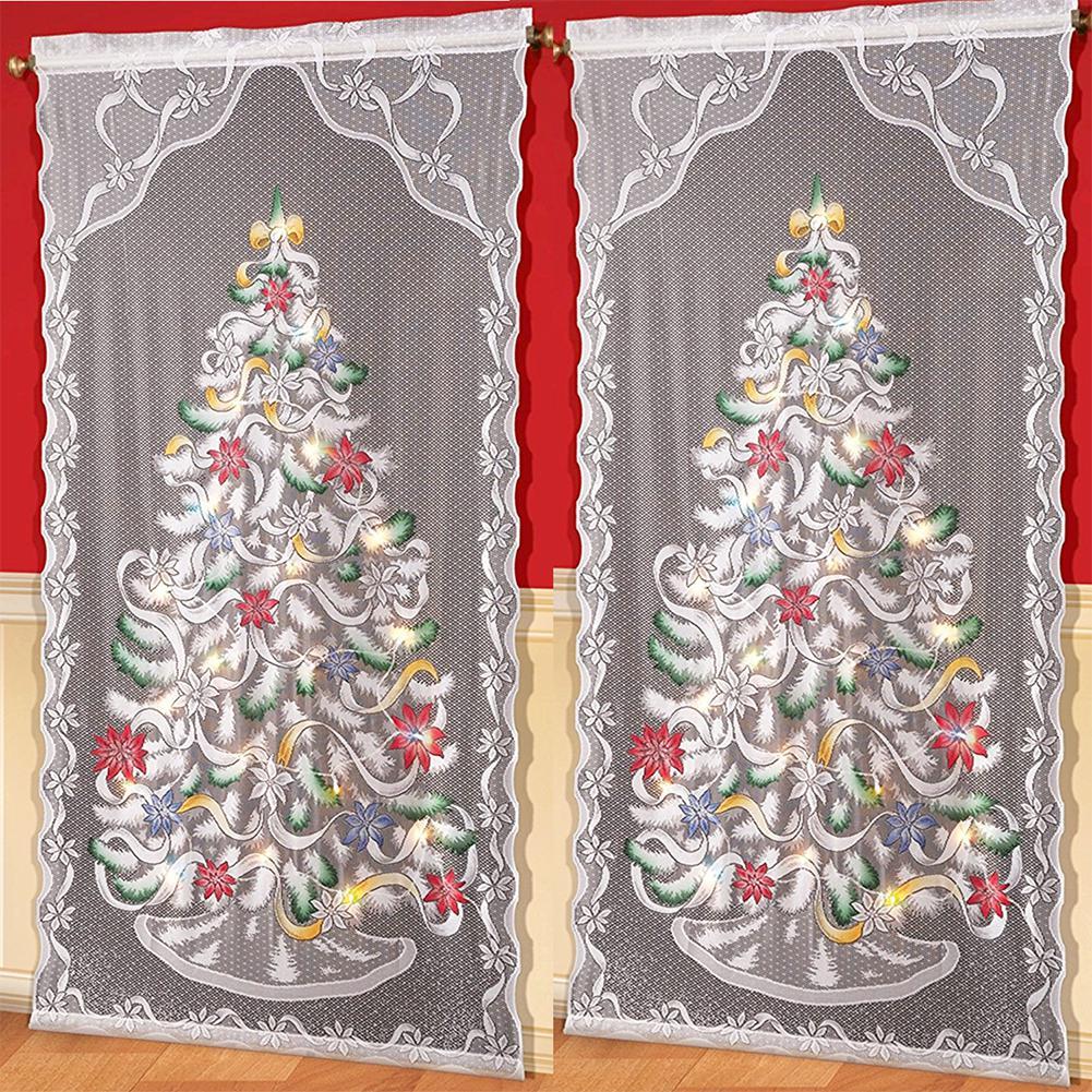 HobbyLane 2pcs Christmas Curtains Santa Clause Printing Reindeer  Living Room Bedroom Kids' Curtain Home Textiles