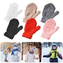 Plush Thick Warm Baby Gloves Winter Plus Velvet Mittens Children Kid Coral Fleece Full Finger Gloves For 1-4Y Kids Gloves