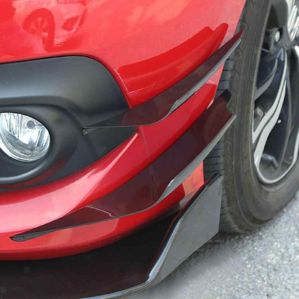 4 Pcs Universal สีดำด้านหน้ากันชนด้านข้าง Canards Splitters FINS Splitter Fin Air Trim Auto Body Side Wing Canards ตัวแยกสัญญาณ