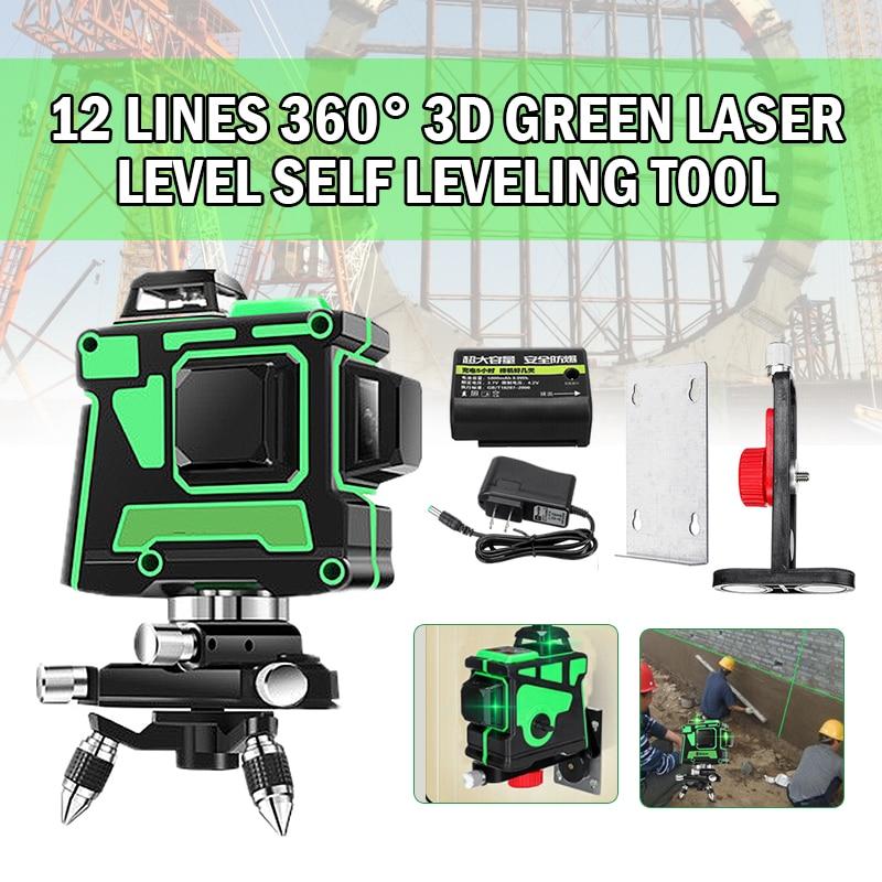 3D 12 зеленая линия лазерный уровень 360 градусов самонивелирующийся Горизонтальный Вертикальный поперечный осциллограф высокоточные Оптиче...