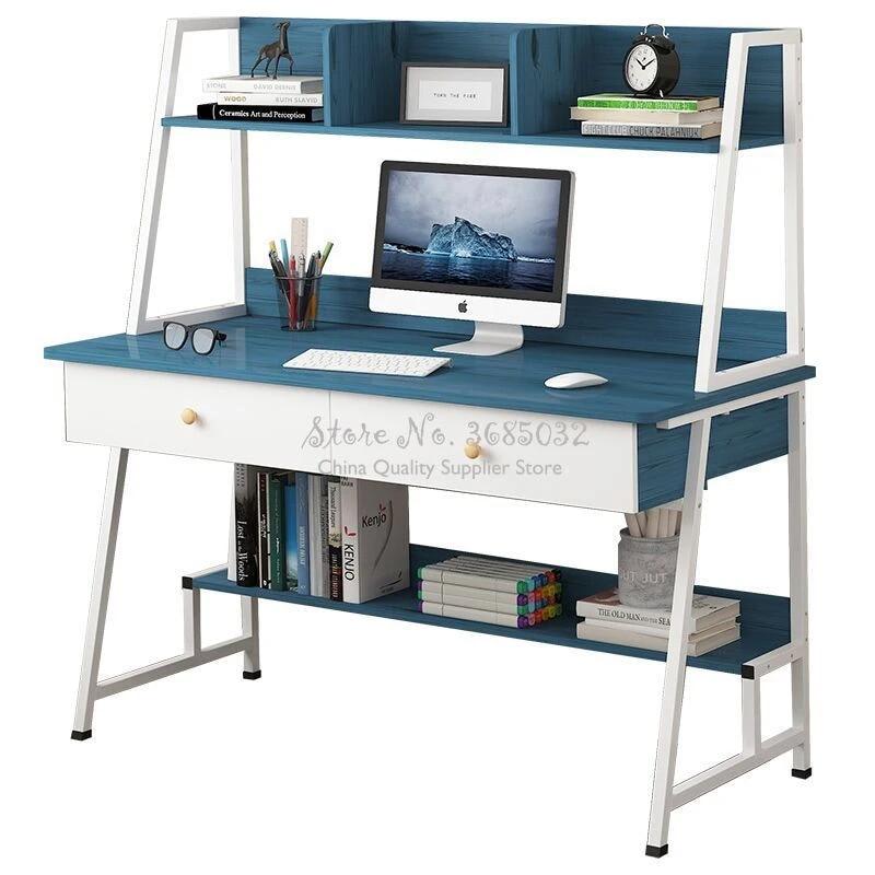 Simple Modern Woden Computer Desk Combination Steel Frame Tables Home Bedroom Desks With Bookshelf Drawer Office Writing Desk Laptop Desks Aliexpress