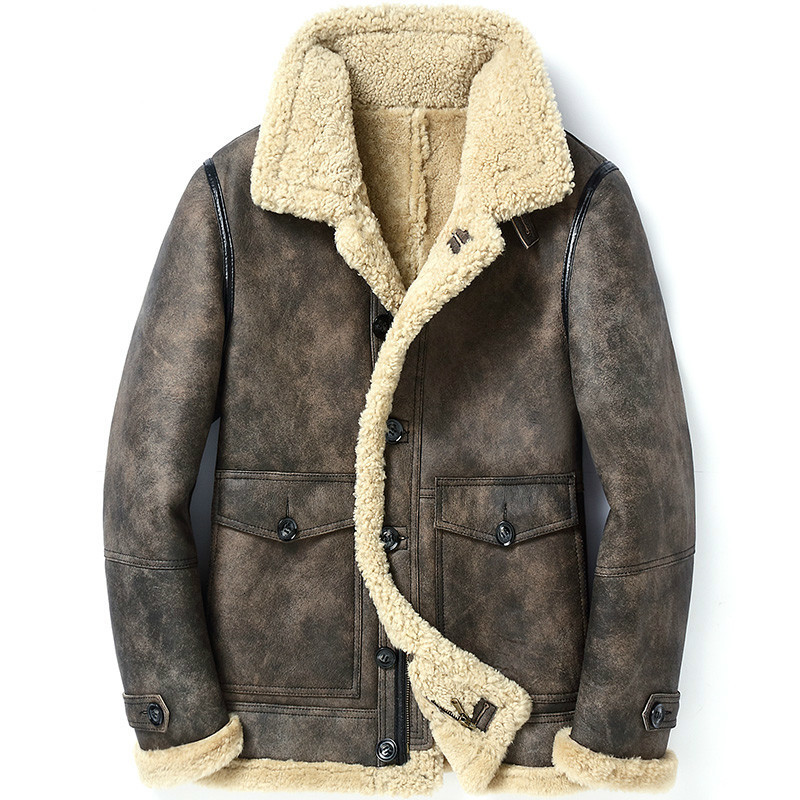 Genuine Leather Jacket Men Winter Jacket Real Sheepskin Coat For Men Natural Wool Fur Coats Bomber Jackets Plus Size 5xl MY1772