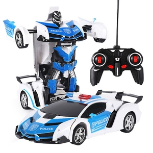 1/18 Electric Telecontrol Car 1 Button Remote Control Deformable Vehicle Robot Simulation Deformation Car Model Cool Toys Gift(China)