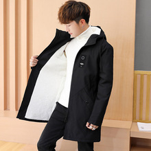 Loldeal Mens Coat parka clothes hair get lambs wool coat with thick loose cotton-padded jacket