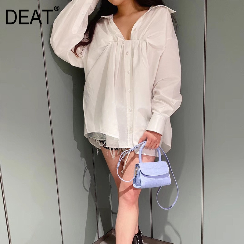 DEAT Women Fashion Design Summer Clothing Turn-down Collar Puff Sleeves Drawstring White Shirt Loose Female Blouse WL96000L