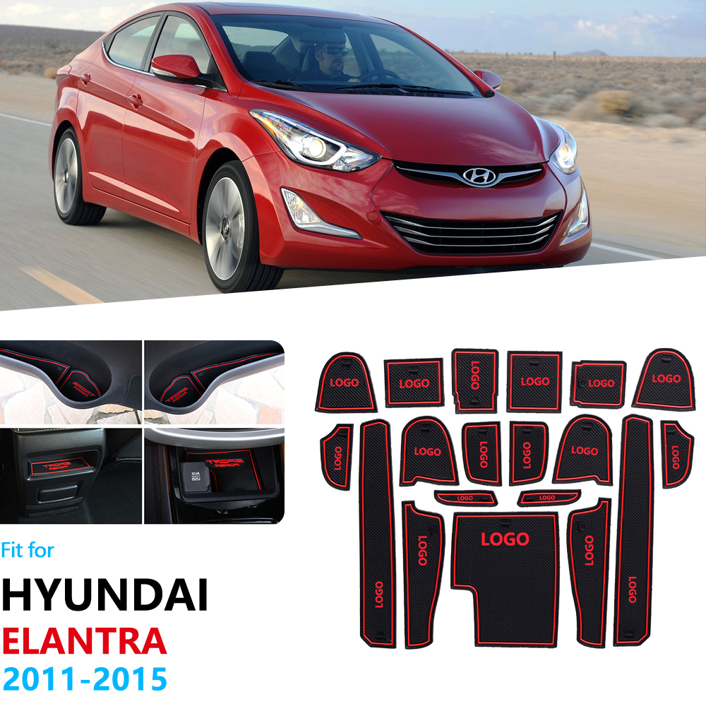 For Hyundai Elantra 2011 2012 2013 2014 2015 MD Avante I35 Anti-Slip Rubber Gate Slot Cup Mat Coaster Accessories Car Stickers