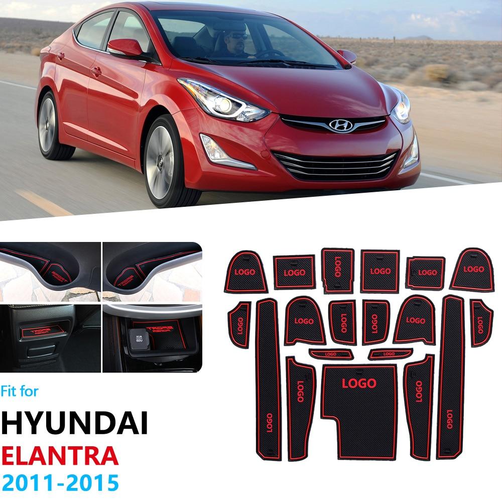 Pour Hyundai Elantra 2011 2012 2013 2014 2015 MD Avante i35 anti-dérapant porte en caoutchouc fente tasse tapis caboteur accessoires voiture autocollants