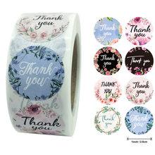 100-500 pces/rolo obrigado você etiqueta 8 estilos das etiquetas redondas florais multicolorido etiquetas da etiqueta dos artigos de papelaria feitos à mão adesivos