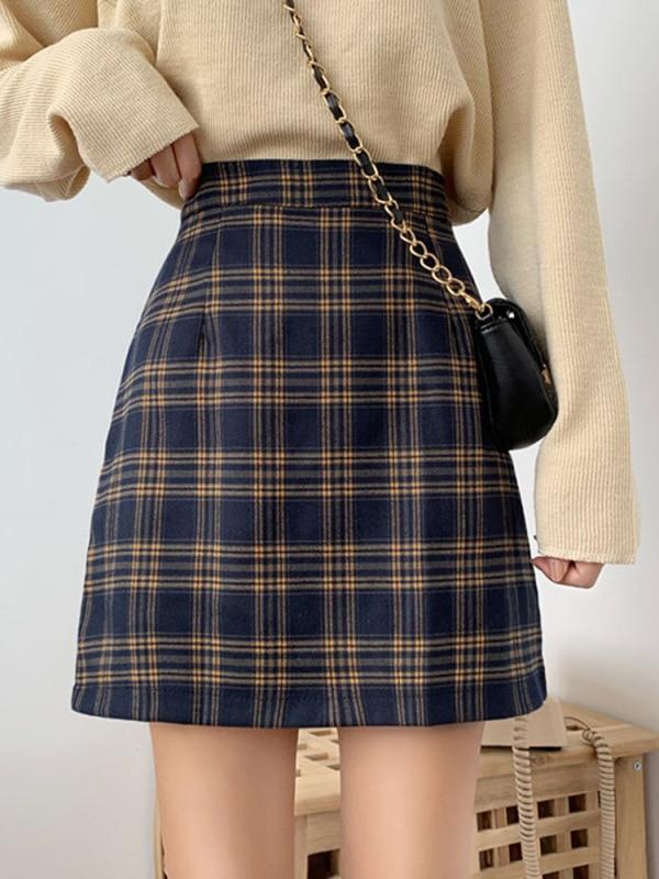INS Super Fire Plaid Skirt Women's Autumn 2019 New Style Retro A- Line Skirt Slimming High-waisted Skirt Short Skirt