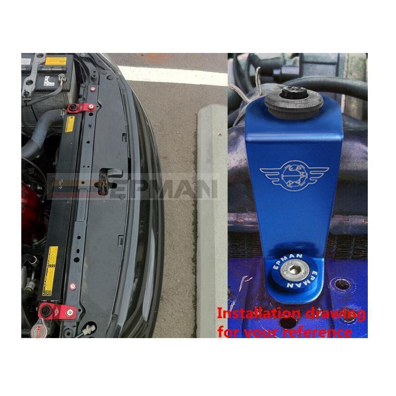 UTUT Radiator Stay Bracket Aluminum Car Engine Water Tank Radiator Stay Mounting Bracket for Honda Civic EK Black