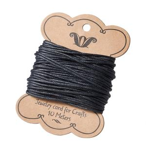 10m Black Cotton Wax Cord 1.5mm Jewelry Findings for Bracelet Necklaces Making DIY