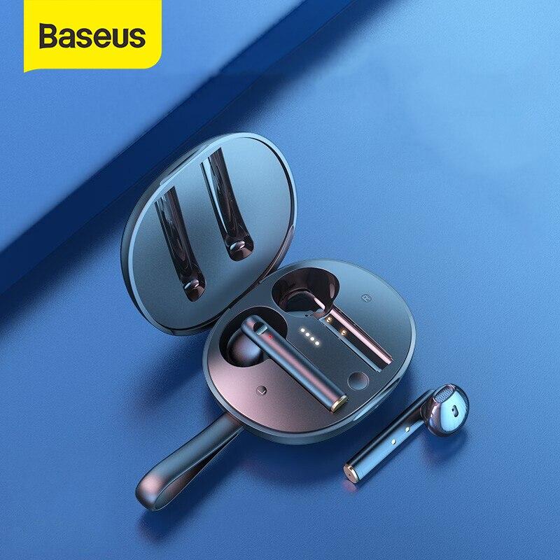 Baseus W05 TWS słuchawki Bluetooth bezprzewodowe słuchawki 5.0 IP55 wodoodporne słuchawki Stereo HD obsługują bezprzewodowe ładowanie Qi