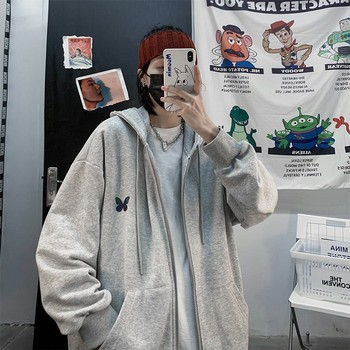 Harajuku Zip Up Sweatshirts Women Hoodies Korean Oversized Thin Clothes Plus Size Loose Casual Solid Color Shirt Long Sleeve Top 1