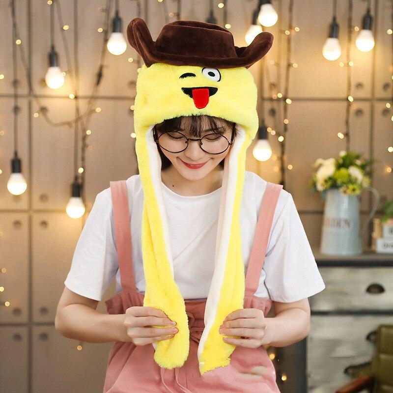 Различные стили милый кролик шляпа с светильник Забавный воздушный поплавок наполнение уха подвижная крышка мультфильм плюшевые игрушки подарки для ребенка - Цвет: Шоколад