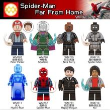 WM6062 Peter Parker Mystrio Hydro-man Spiderman 3 Far From Home Nick Fury Mary Jane Happy Hogan Building Blocks Children Toys