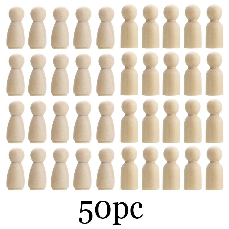 50 шт. 43 мм/35 мм, деревянная кукла-подставка, пустые женские и мужские Неокрашенные Фигурки для рукоделия, деревянные поделки, детские игрушки...