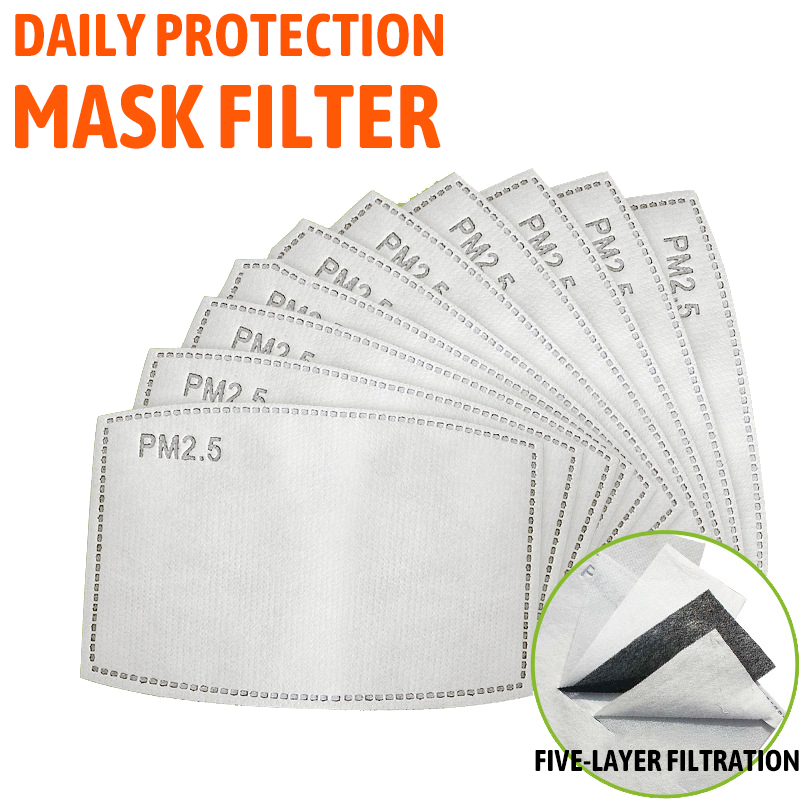 100 /10 pcs PM 2.5 Mask Filter Anti Haze 5 Layers Activated Carbon Mask Filters Replaceable For Adults Mouth Mask Health Care