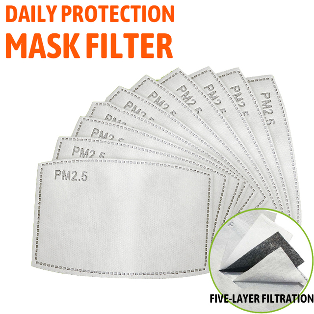 100 /10 pcs PM 2.5 Mask Filter Anti Haze 5 Layers Activated Carbon Mask Filters Replaceable For Adults Mouth Mask Health Care 1