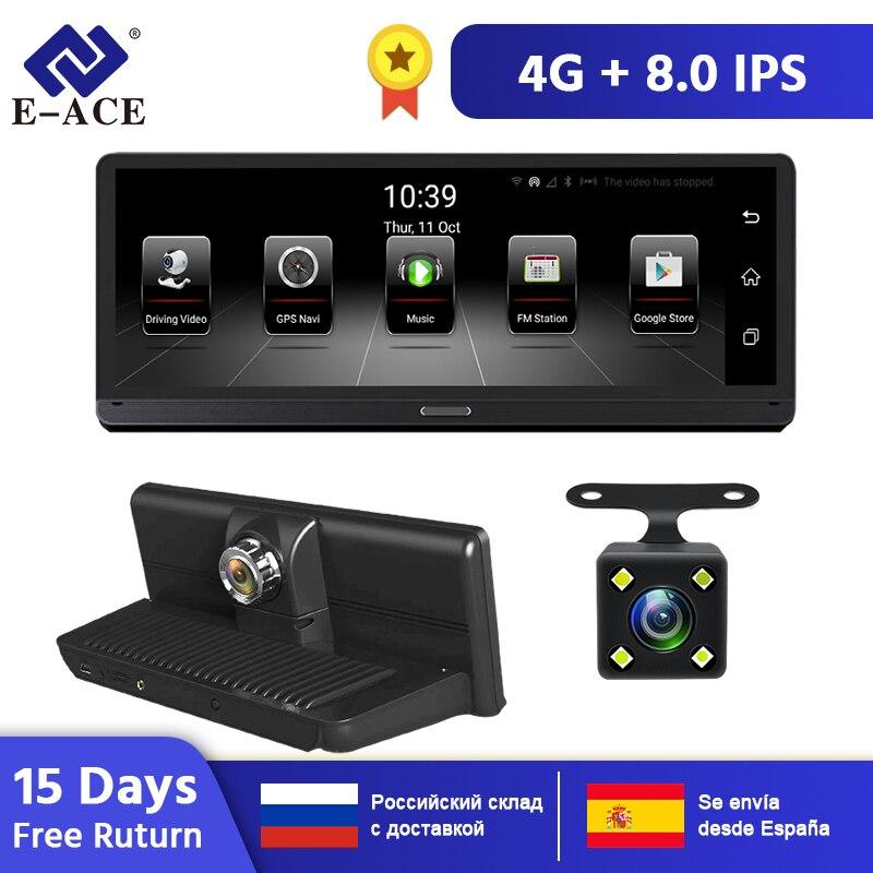 E-ACE Auto DVRs 4G Android 5.1 Camara 8,0 Inch GPS Navigation Wifi FHD 1080P Video Recorder ADAS Bluetooth Auto dash Cam
