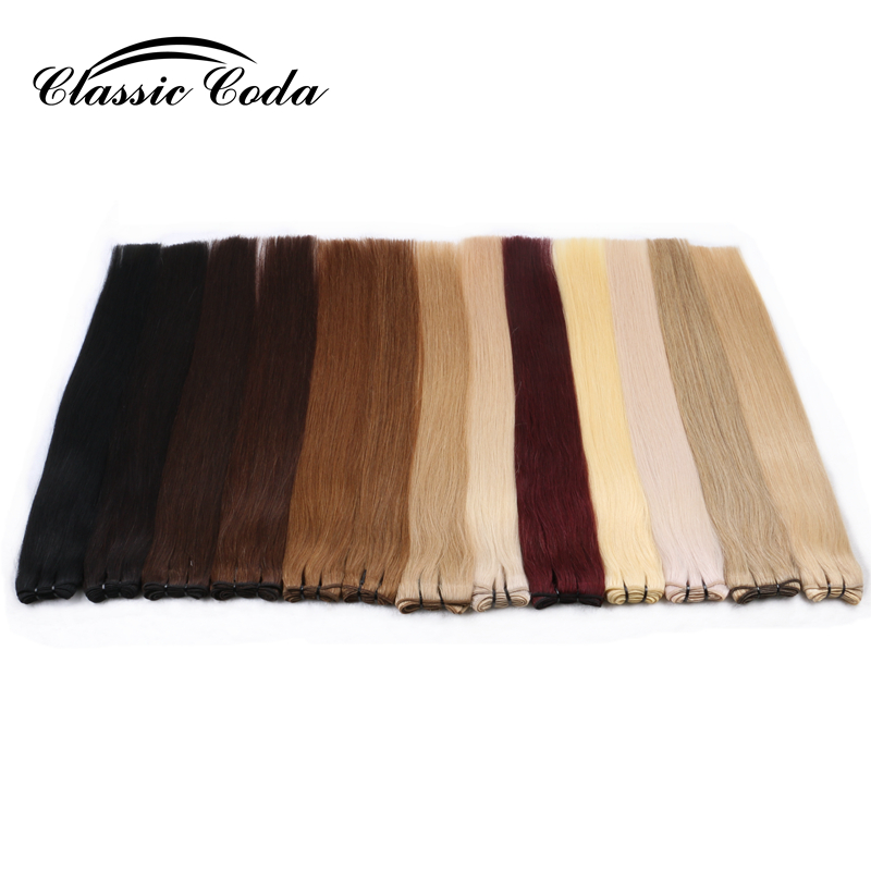 Classic Coda Straight Remy Hair Weft Human Hair Natural Drawn Human Hair Weave Bundles 100g/pc