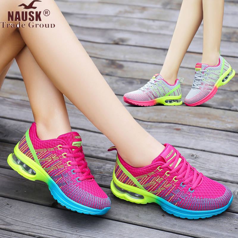NAUSK  Women Shoes Spring Autumn New Sports Ladies Shoes Walking Breathable Mesh Flat Shoes Casual Running Sneakers