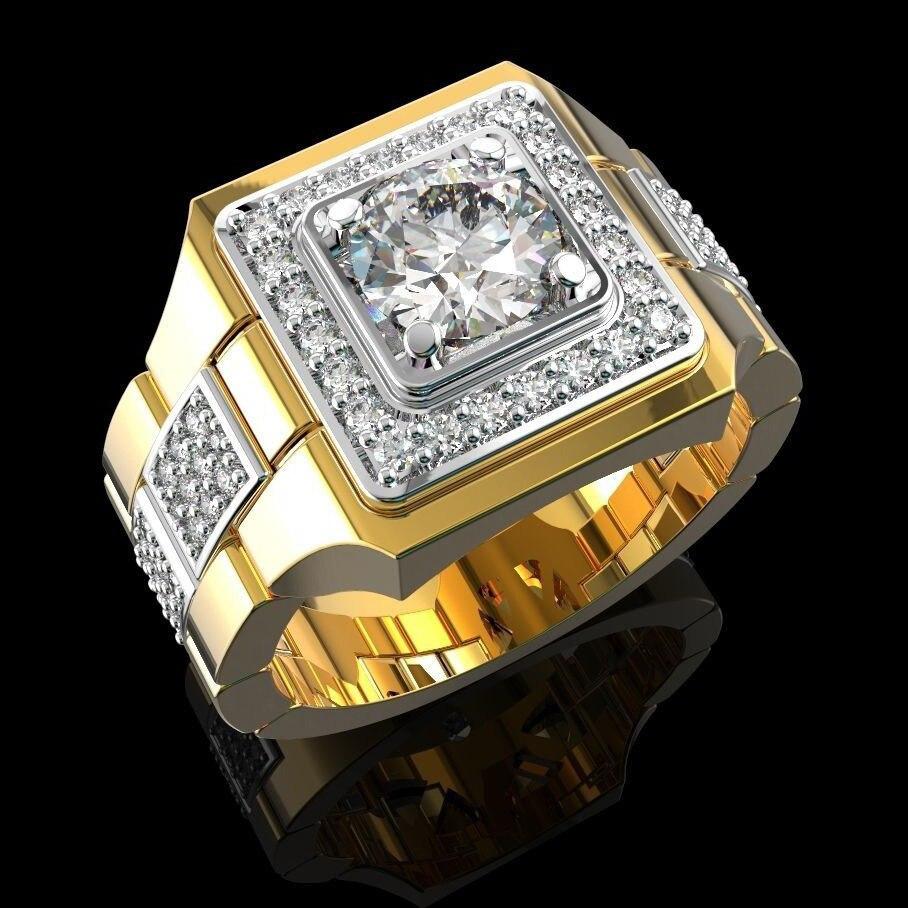 14 K or jaune naturel blanc diamant Bague pour hommes Bijoux Femme Bijoux pierres précieuses Bague Homme 2 Carats diamant Bague mâle boîte