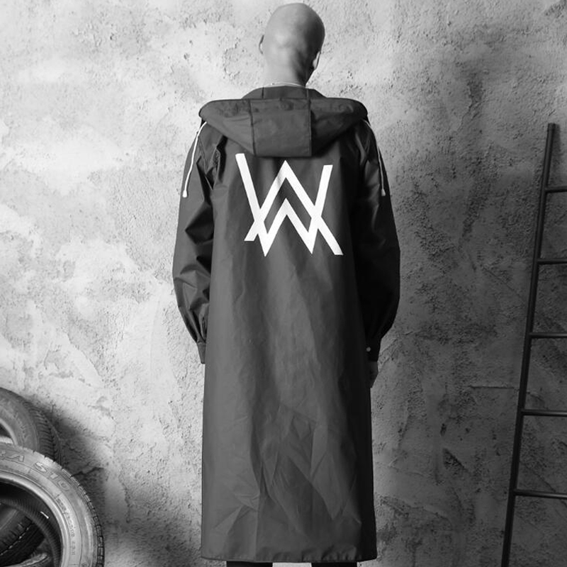 Fashion EVA Men Raincoat Alan Walker Pattern Thickened Waterproof Rain Coat Black Adult Waterproof Long Style Hiking Poncho