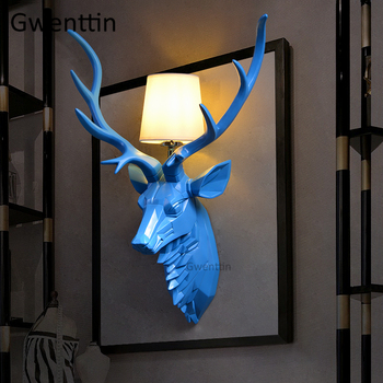 Modern Deer Antlers Wall Lamps Led Mirror Light Animal Wall Sconce for Bedroom Barthroom Retro Resin Fixtures Home Art Decor E27
