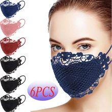 Mascarilla facial lavable y reutilizable con Apliques de encaje delicado, máscara de fiesta a prueba de viento, divertida, de seguridad para exteriores, 6 uds.