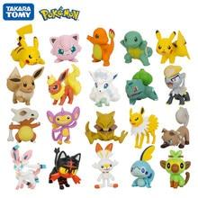 Tomy Pokemon 3-9cm Pet colección Pikachu Squirtle Bulbasaur Charmander pelota Pokemon Abra Litten figuras de Anime modelo Juguetes