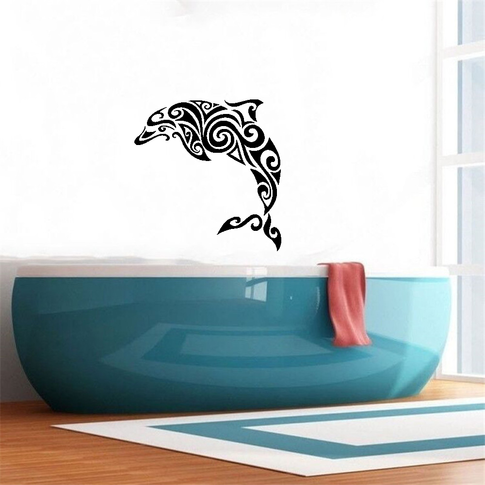 Creative Design Dolphin Home Decor Sea Nursery Room Fish Bathroom Wall Sticker Vinyl Coastal Beach House Decals Mural